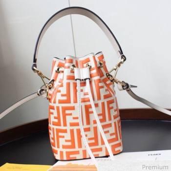 Fendi Mon Tresor Mini FF Leather Bucket Bag Orange 2020 (AFEI-20071011)
