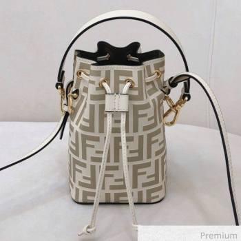 Fendi Mon Tresor Mini FF Leather Bucket Bag White 2020 (AFEI-20071010)