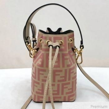 Fendi Mon Tresor Mini FF Leather Bucket Bag Beige/Pink 2020 (AFEI-20071014)
