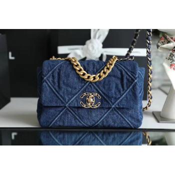 CHANEL Denim 19 Flap Bag AS1160 blue