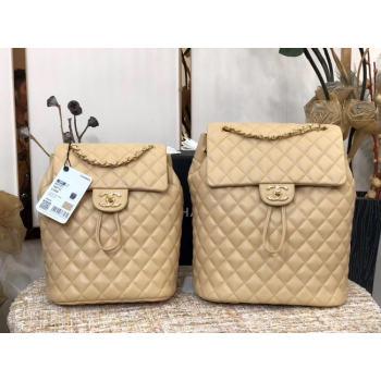 Chanel Backpack Sheepskin Original Leather 83431 Beige