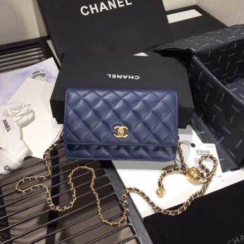 Chanel Original Small classic Sheepskin flap bag AS33814 blue