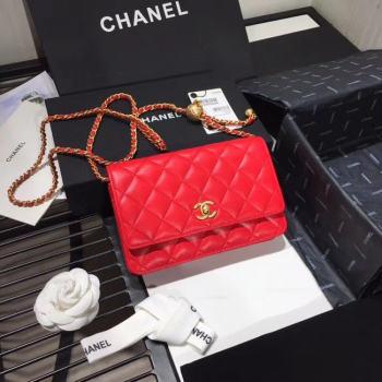 Chanel Original Small classic Sheepskin flap bag AS33814 red