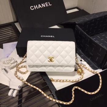 Chanel Original Small classic Sheepskin flap bag AS33814 white