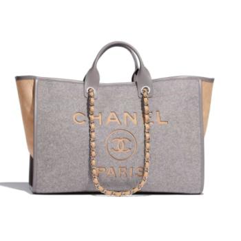 Chanel Original Tote Shopping Bag Wool calfskin & Silver-Tone Metal A93786 Grey&beige