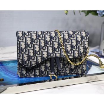Dior SADDLE DENIM CANVAS Chain Clutch bag S5614 dark blue
