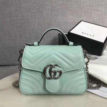 Gucci GG Marmont mini top handle bag 547260 light green