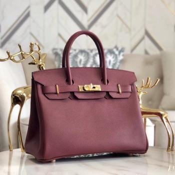 Hermes original Epsom Leather HB35O Burgundy&gold Metal