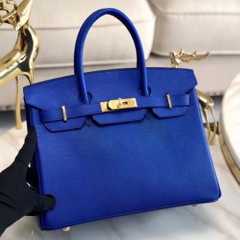 Hermes original Epsom Leather HB35O Electro optic blue&gold Metal