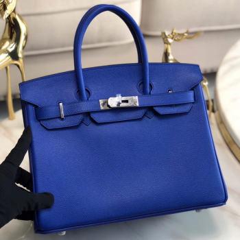 Hermes original Epsom Leather HB35O Electro optic blue&silver Metal
