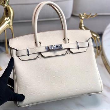 Hermes original Epsom Leather HB35O cream&silver Metal