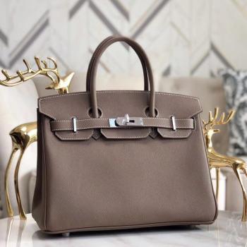 Hermes original Epsom Leather HB35O grey&silver Metal