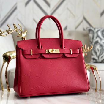 Hermes original Epsom Leather HB35O red&gold Metal