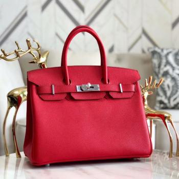 Hermes original Epsom Leather HB35O red&silver Metal
