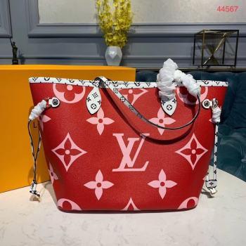 Louis Vuitton Monogram Canvas Original Leather NEVERFULL MM M44567 Red