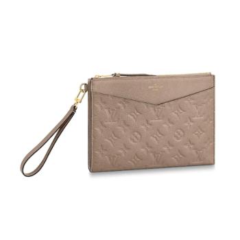 Louis Vuitton Original Monogram Empreinte Clutch bag MELANIE M68705 grey