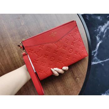 Louis Vuitton Original Monogram Empreinte Clutch bag MELANIE M68705 red