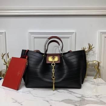 VALENTINO Origianl Leather Bag Bar Embossing V0099F Black