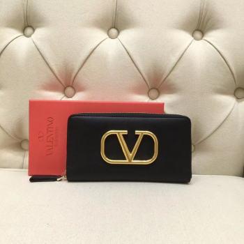 VALENTINO Origianl leather Zipped Wallet VG0088 Black